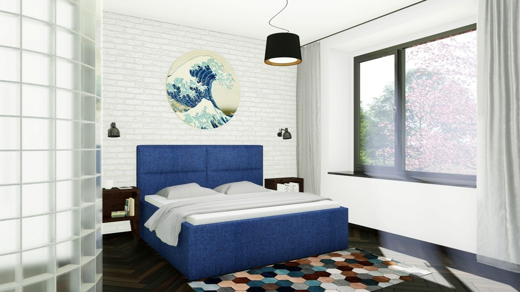 Slumberland BELFAST MISTRAL - posteľ s výrazným čelom a úložným priestorom 160 x 200 cm, lamino