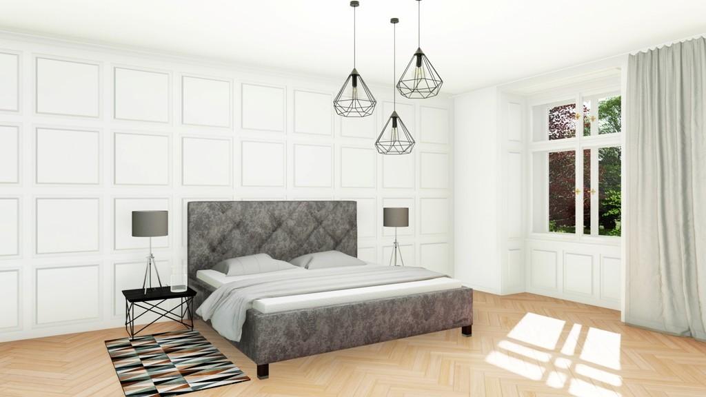 Slumberland OXFORD - čalúnená posteľ s vysokým čelom 200 x 200 cm, lamino