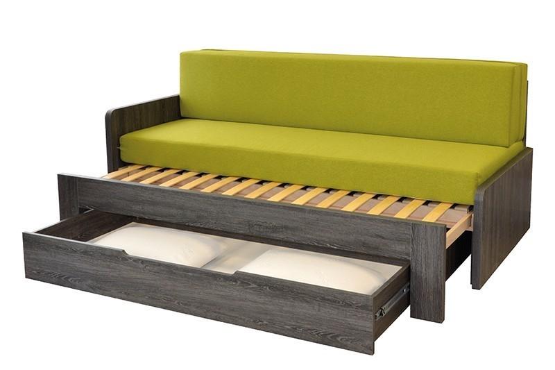 Ahorn DUOVITA 90 x 200 lamela - rozkladacia posteľ a sedačka 90 x 200 cm pravá - dub čierny, lamino