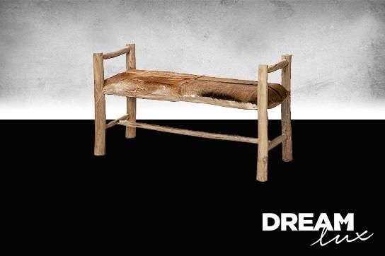 Dreamlux Designová lavica s područkami, Přírodní materiály Lavica z dreva Kozí kůže Ruční výroba