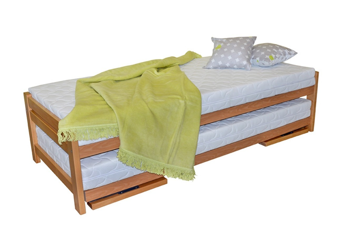 Ahorn Posteľ Duelo + 2 matrace Lucida - rozkladacia posteľ s dvoma lôžkami 80 x 200 cm