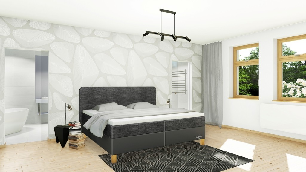 Slumberland BEDFORD - posteľ s matracom, úložným priestorom aj roštom 200 x 200 cm, lamino