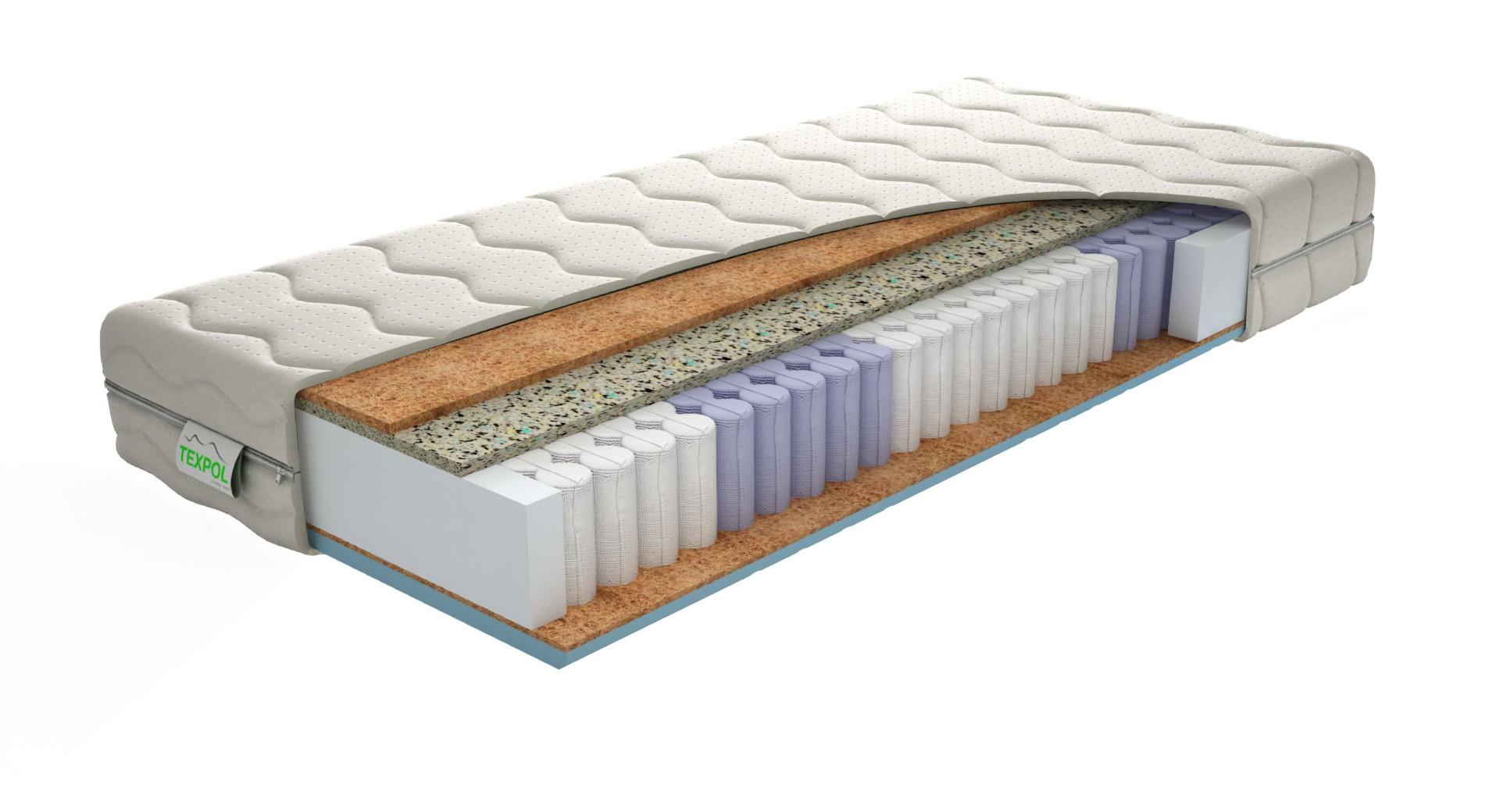 Texpol STELA HARD - tuhší komfortný taštičkový matrac s poťahom Aloe Vera, snímateľný poťah