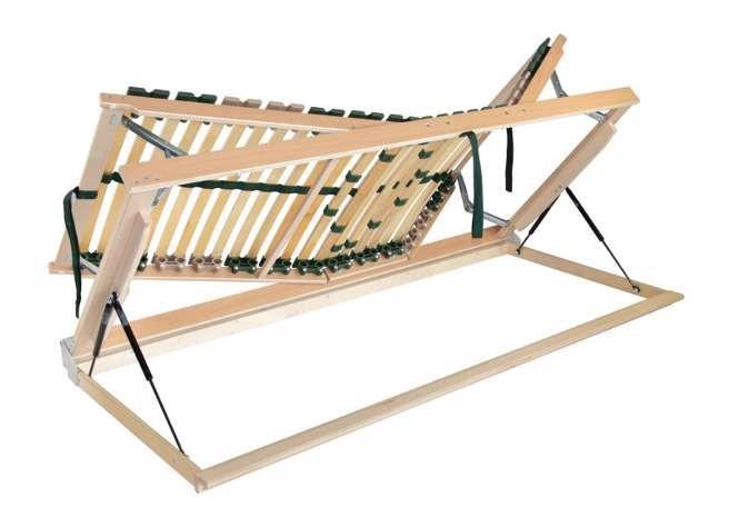 Ahorn PORTOFLEX Kombi P HN ĽAVÝ - výklopný polohovateľný lamelový rošt 100 x 190 cm, brezové lamely + brezové nosníky