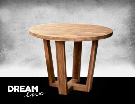 Dreamlux Drevený gulatý jedálenský stôl 100 cm, Drevený stôl - recyklační dřevo