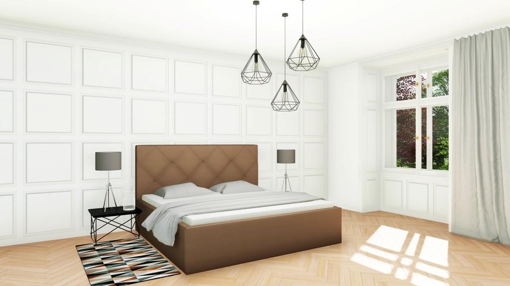 Slumberland OXFORD MISTRAL- posteľ s vysokým čelom a úložným priestorom 200 x 200 cm, lamino