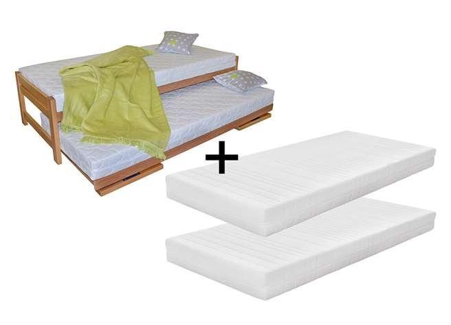 Ahorn Posteľ Duelo + 2 matrace (UM-622) - rozkladacia posteľ s dvomi lôžkami 80 x 200 cm, buk masív