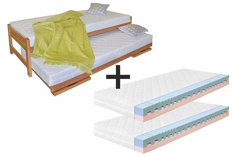 Ahorn Posteľ Duelo + 2 matrace Dara - rozkladacia posteľ s dvoma lôžkami 80 x 200 cm, buk masív