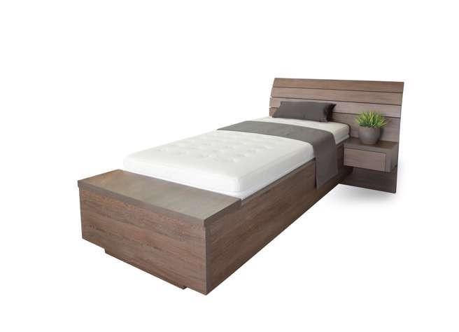 Ahorn SALINA BOX pri nohách - jednolôžková posteľ so vstavaným úložným boxom 120 x 200 cm, lamino