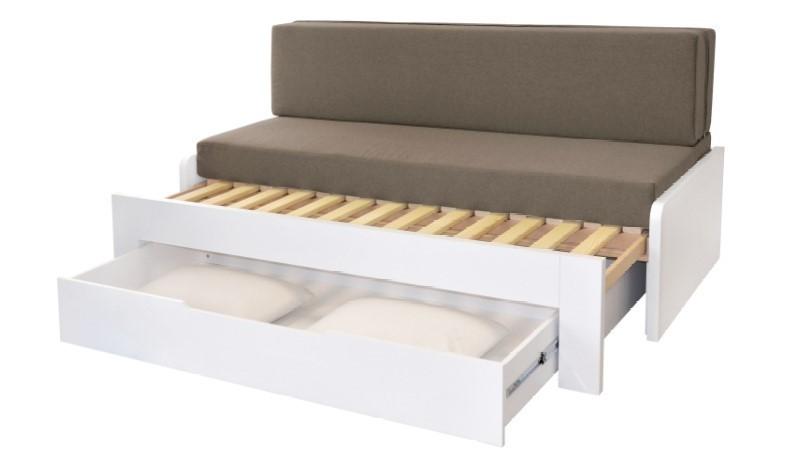 Ahorn DUOVITA 90 x 200 BK laty - rozkladacia posteľ a sedačka 90 x 200 cm ľavá - dub biely, lamino